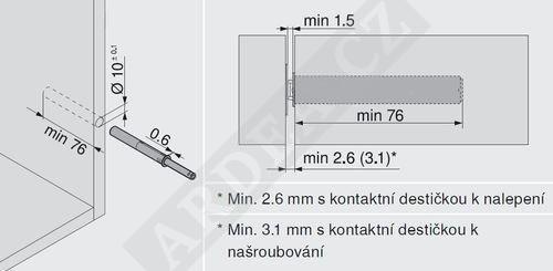 BLUM 956A1004 píst TIP-ON délka 76mm bílý